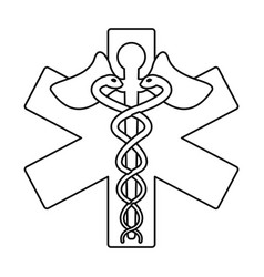 Caduceus medicine care symbol thin line vector