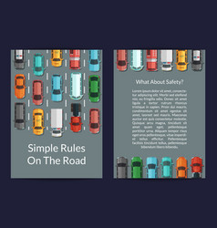cars on the road top view card or flyer vector image