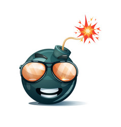 Cartoon bomb fuse wick spark icon sun glasses vector