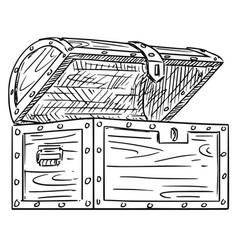 cartoon drawing empty open wooden treasure vector image