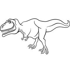 Cartoon tyrannosaurus dinosaur for coloring book vector