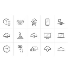 cloud technology and mobile devices hand drawn vector image