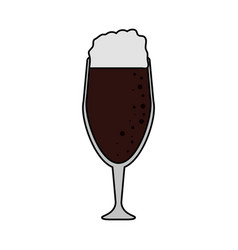 Color image cartoon beer in cup glass with foam vector