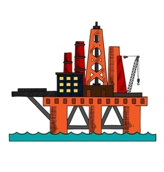 Colorful sketch of sea oil platform vector image