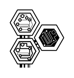 computer circuit hexagon electronic component vector image