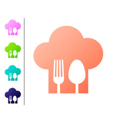 Coral chef hat with fork and spoon icon isolated vector