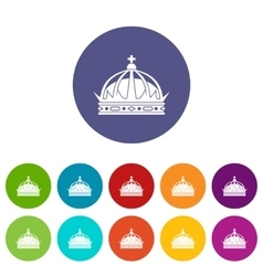 Crown set icons vector image