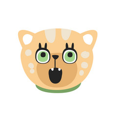 Cute curious kitten head funny cartoon cat vector