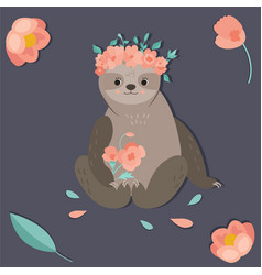 cute girl sloth with a flower wreath vector image