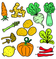 Doodle of vegetable various set art vector
