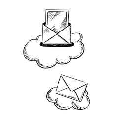 E-mail symbols with letters and clouds vector