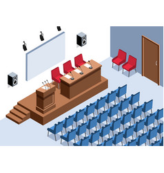Empty conference hall composition vector