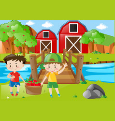 Farm scene with two boys and basket of apples vector