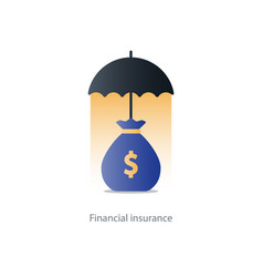 Financial security concept money bag and umbrella vector