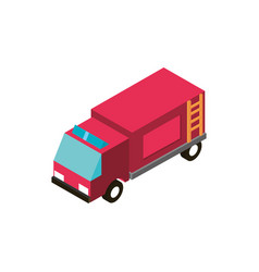 Fire truck transport vehicle isometric icon vector