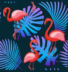 flamingo tropical plants neon fluorescent colors vector image