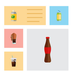 Flat icon beverage set of cola soda carbonated vector