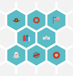 Flat icons white house doughnut stamp and other vector