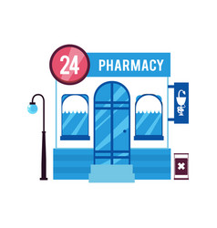 front facade pharmacy store or drugstore vector image