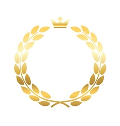 Gold laurel wreath crown emblem vector