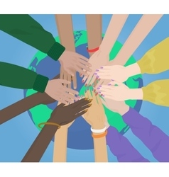group multiracial human hands together joining vector image