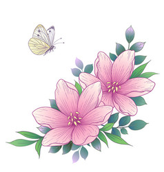 Hand drawn pink flowers and flying butterfly vector
