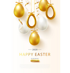 Happy easter 2020 background with realistic golden vector