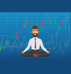happy man trader meditating under rising crypto or vector image