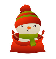 happy new year cartoon card christmas snowman in vector image