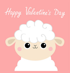 Happy valentines day sheep lamb face head icon vector