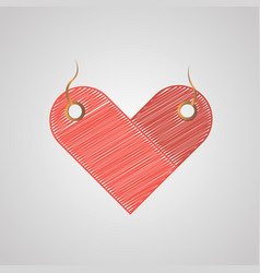 Heart-shaped label stylized sloppy touches vector