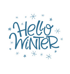 hello winter lettering vector image
