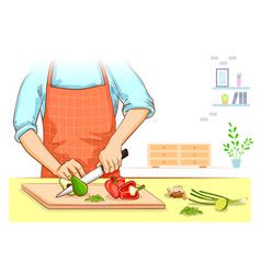 human hand chopping and cutting fresh vegetable vector image