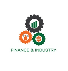 icons of finance and industry in gears vector image