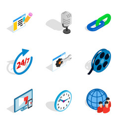 Install icons set isometric style vector
