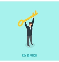 Key solution concept Isometric 3d vector image