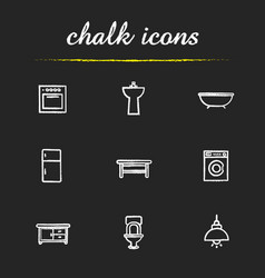 kitchen and bathroom furniture chalk icons set vector image