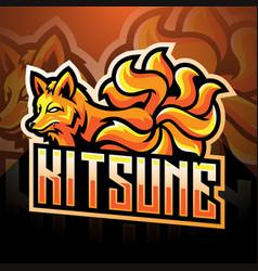 Kitsune esport mascot logo design vector