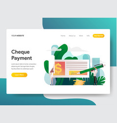 landing page template cheque payment concept vector image