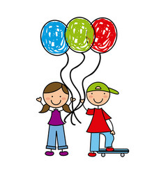 little kids with balloons air vector image