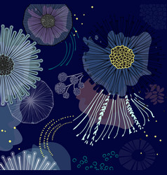 Magic bloom flowers blossom on navy background vector