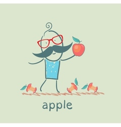 Man holding an apple lying around and eats apples vector