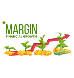 margin financial growth web banner vector image