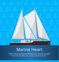Marine heart poster with luxury yacht vector