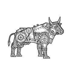 mechanical bull animal engraving vector image