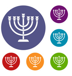 Menorah icons set vector