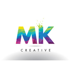 Mk m k colorful letter origami triangles design vector