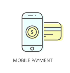 mobile payment with inserted credit card - online vector image