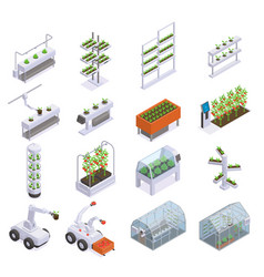 Modern greenhouse isometric colored icon set vector