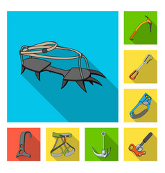 Mountaineering and climbing flat icons in set vector